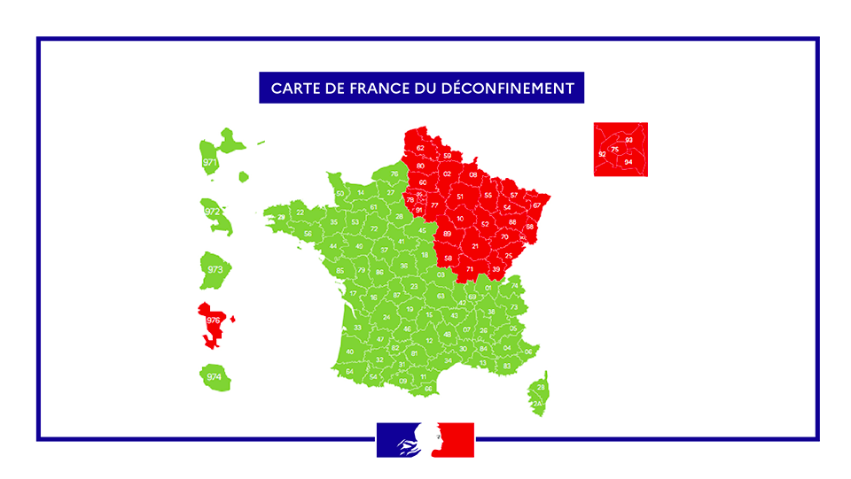 Frankreich Corona Gebiete